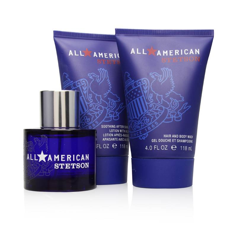 Stetson All American by Coty for Men 1.7oz Cologne Spray Aftershave Body Wash Gift Set