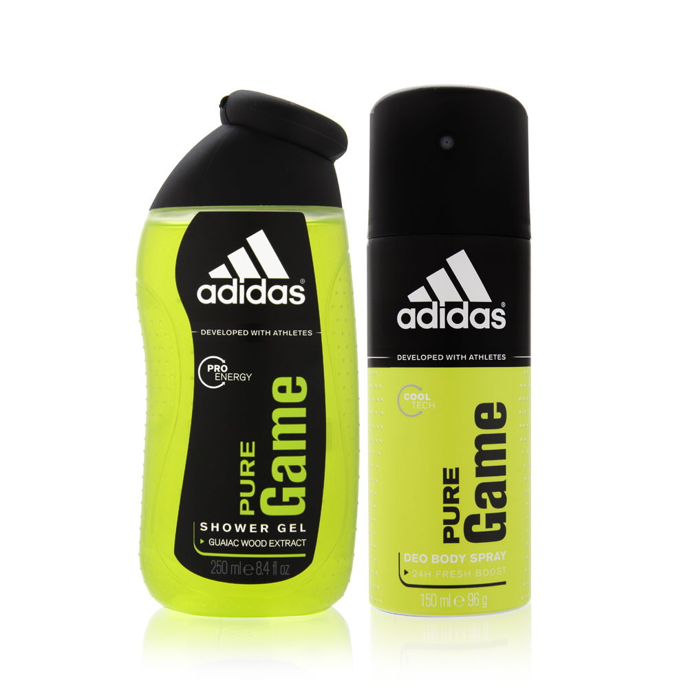 Adidas Pure Game by Coty for Men 5.0oz Spray Deodorant Shower Gel Gift Set