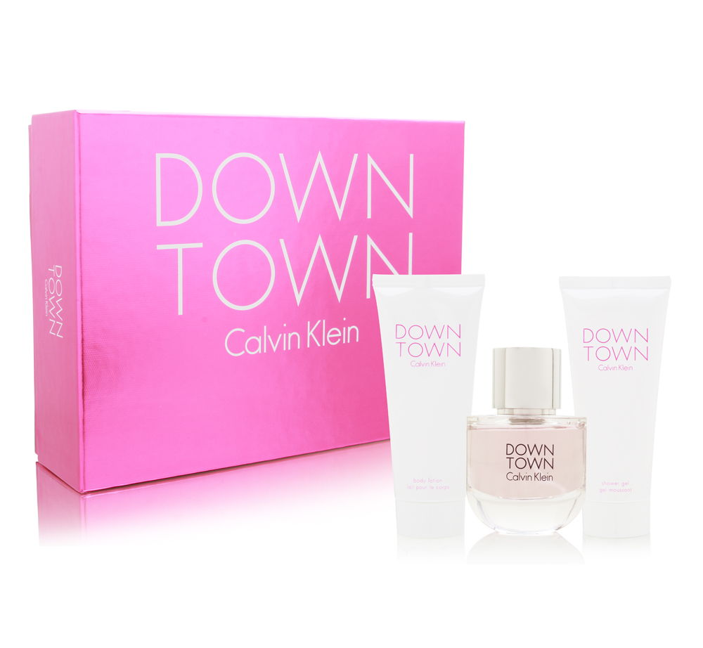 Coty Downtown by Calvin Klein for Women 3.0oz EDP Spray Body Lotion Shower Gel Gift Set