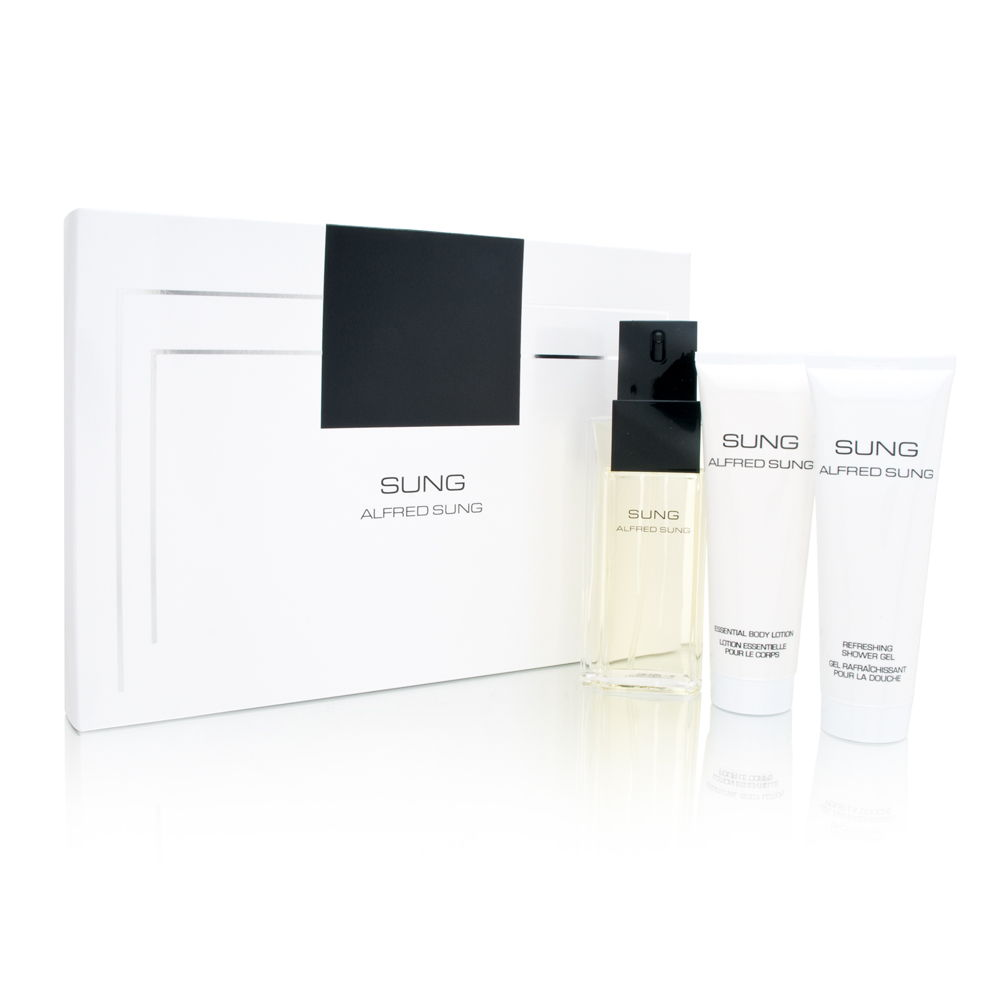 Sung by Alfred Sung for Women 3.4oz EDT Spray Body Lotion Shower Gel Gift Set