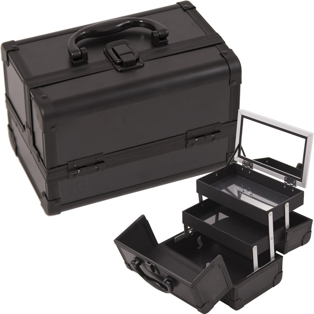 Justcase M1001PPAB All Black Makeup Case With Mirror