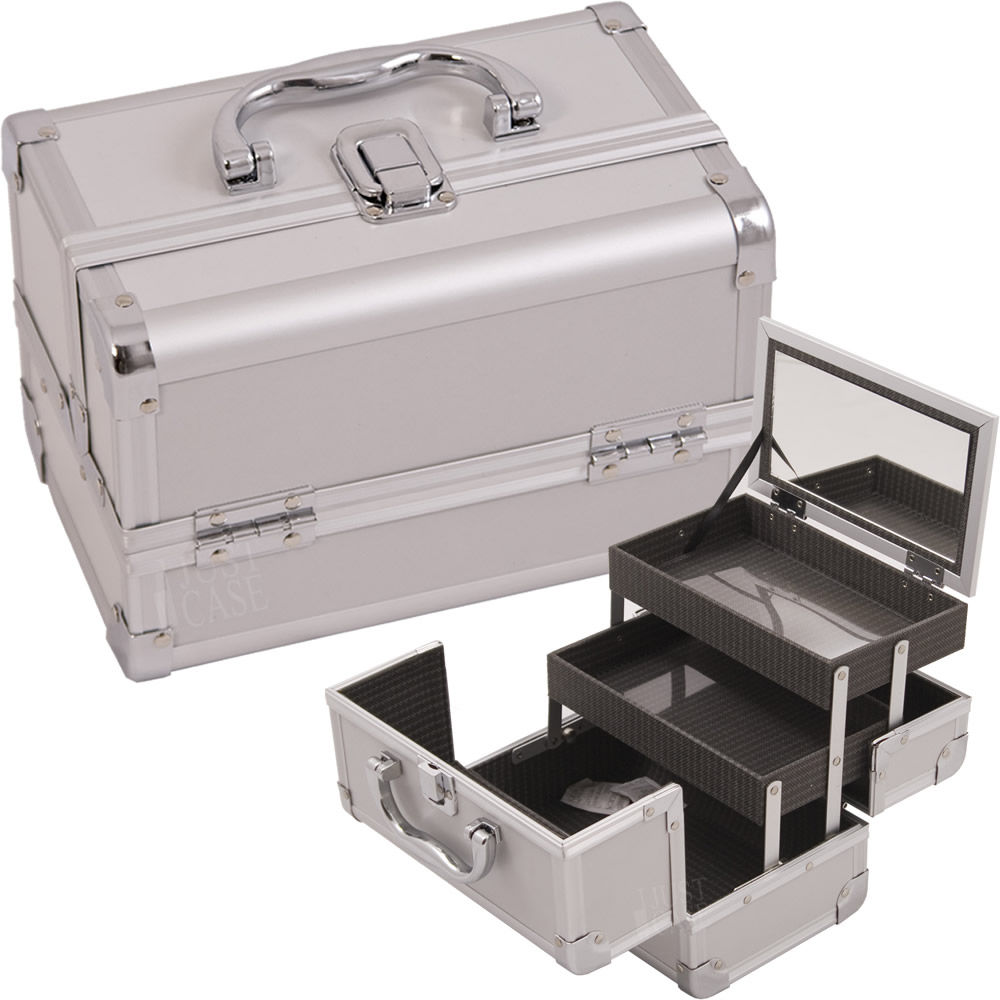 Cosmetic Makeup Train Case Color: Silver