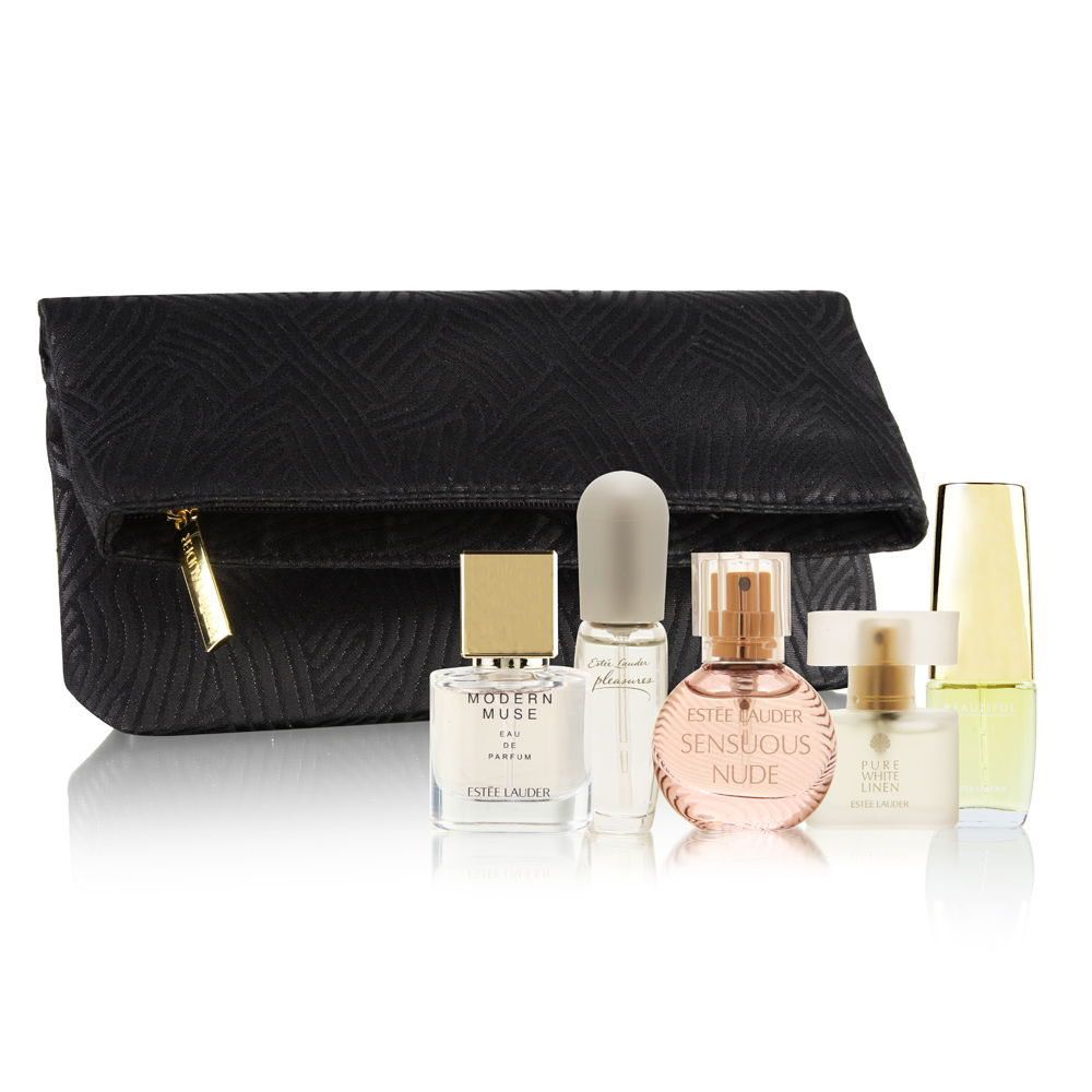 estee lauder female estee lauder 6 piece purse spray miniature collection