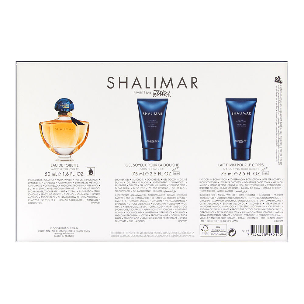 Shalimar by Guerlain for Women 1.6oz EDT Spray Body Lotion Shower Gel Gift Set