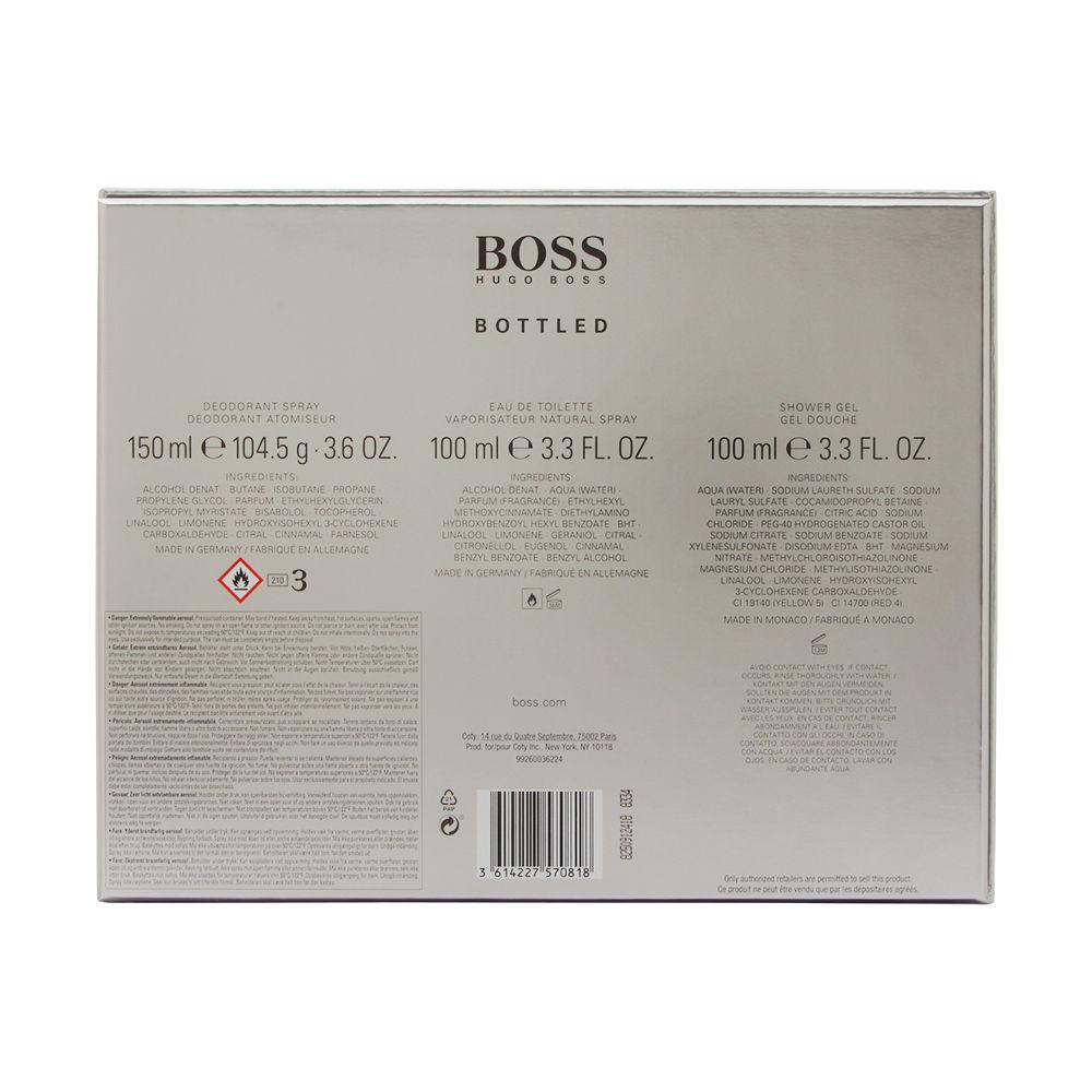 Boss Bottled No. 6 by Hugo Boss for Men 3.3oz EDT Spray Deodorant Spray Shower Gel Gift Set