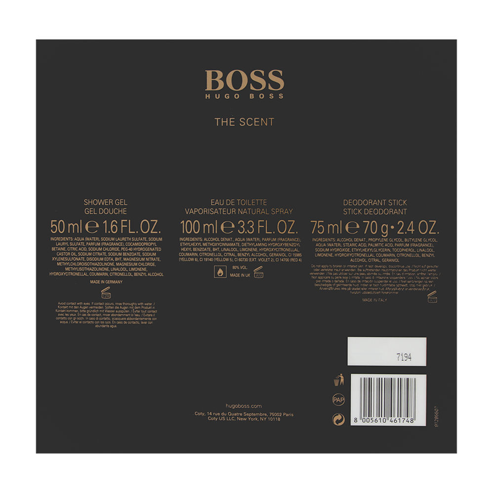 Boss The Scent by Hugo Boss for Men 3.3oz EDT Spray Deodorant Stick Shower Gel Gift Set