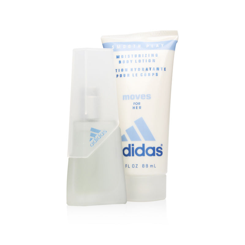 Adidas Moves by Coty for Women 0.5oz EDT Spray Body Lotion Shower Gel Gift Set