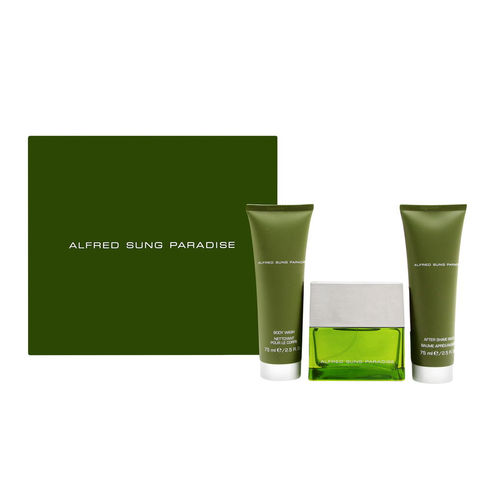 Paradise by Alfred Sung for Men 1.7oz EDT Spray Aftershave Body Wash Gift Set