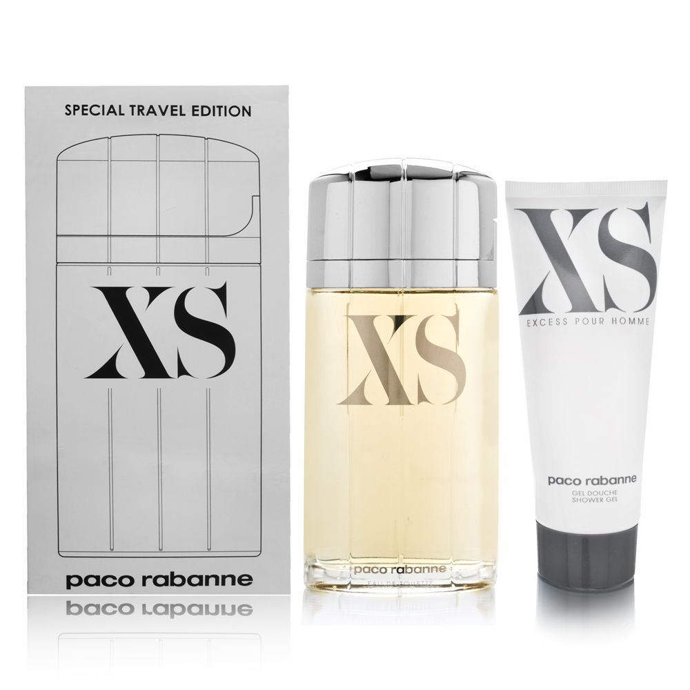 XS Pour Homme by Paco Rabanne for Men 3.3oz EDT Spray Shower Gel Gift Set