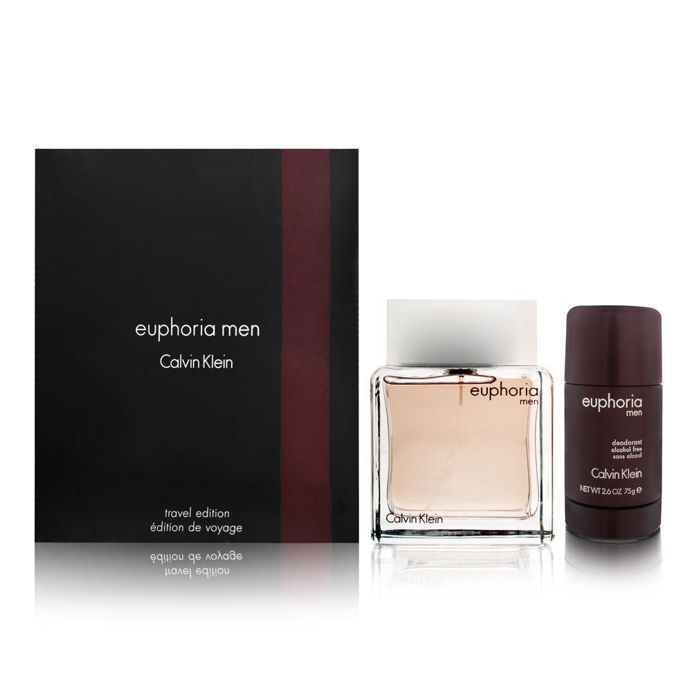 Euphoria Men by Calvin Klein 3.4oz EDT Spray Deodorant Stick Gift Set