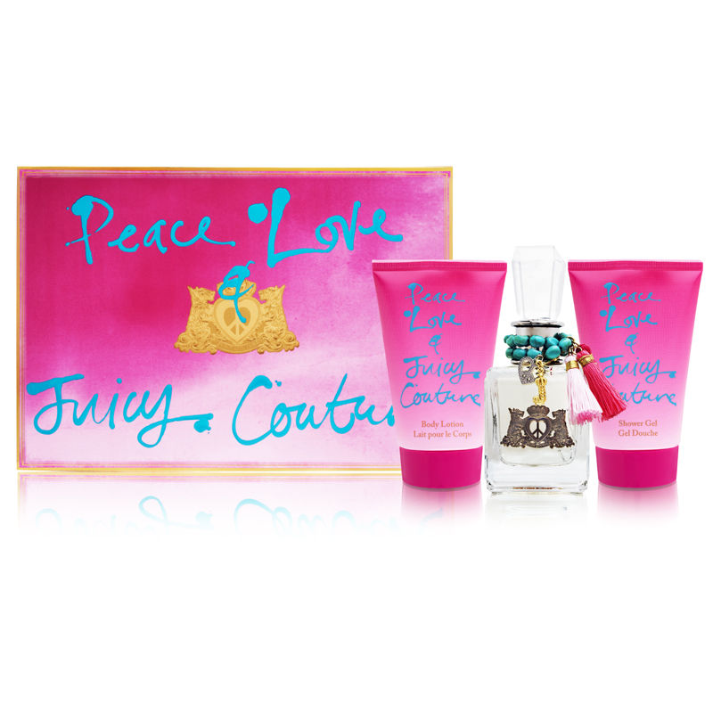 Peace Love & Juicy Couture by Juicy Couture for Women 1.7oz EDP Spray Body Lotion Shower Gel Gift Set
