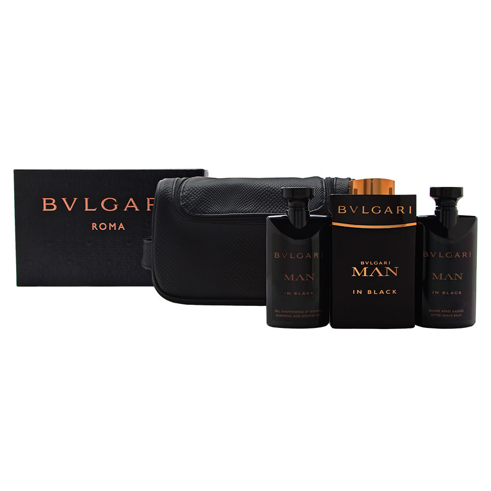 Bvlgari Man In Black  men 3.4oz EDP Spray Aftershave Shower Gel Gift Set