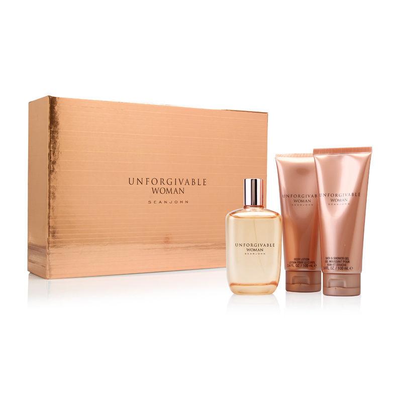 Unforgivable Woman by Sean John Fragrances 4.2oz EDP Spray Body Lotion Shower Gel Gift Set